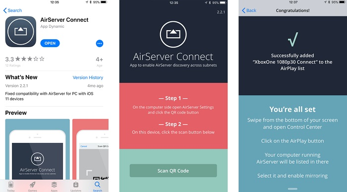 set airserver on iphone