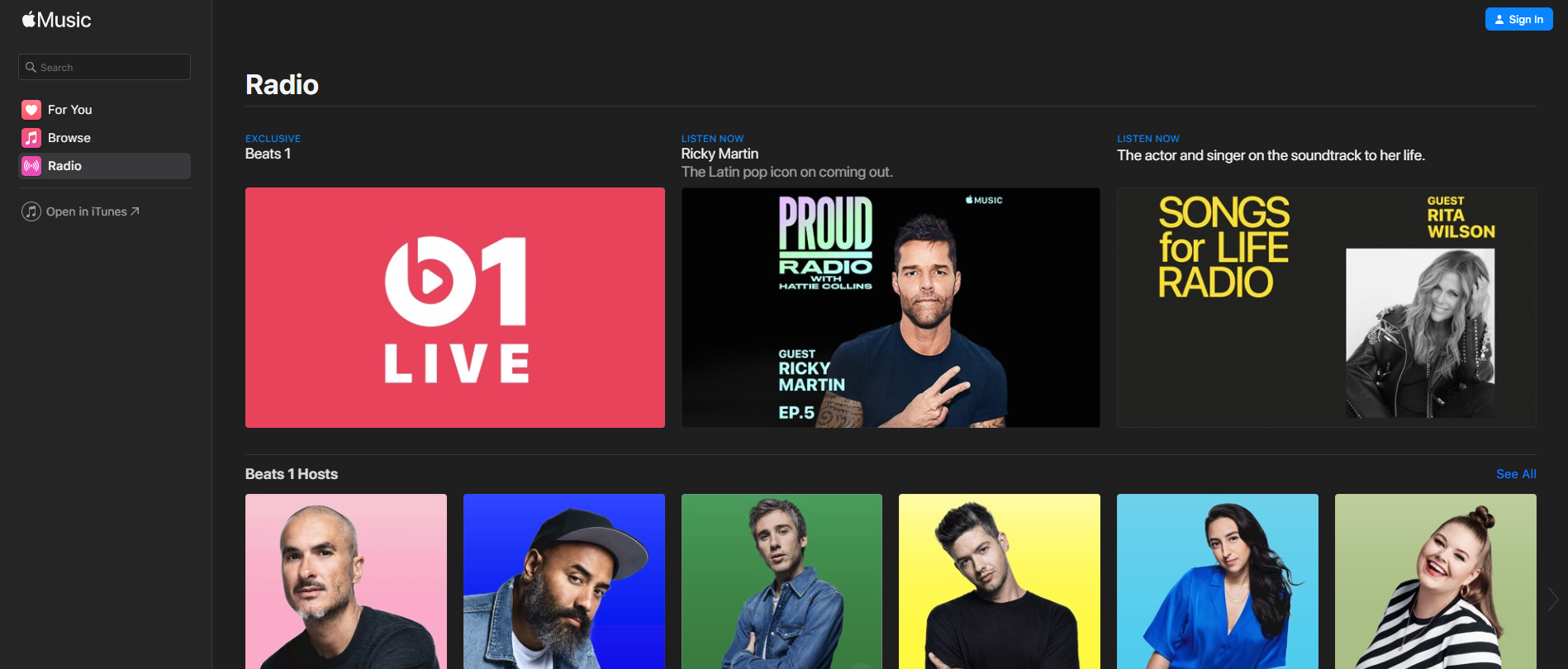 apple music beats 1 web player