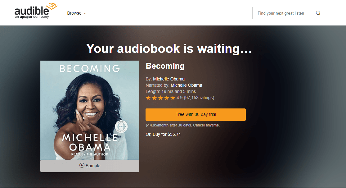 audible audiobook becoming