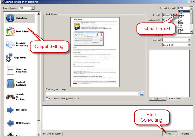 set output format as pdf