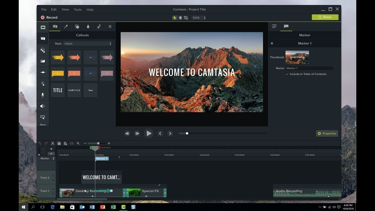 camtasia interface