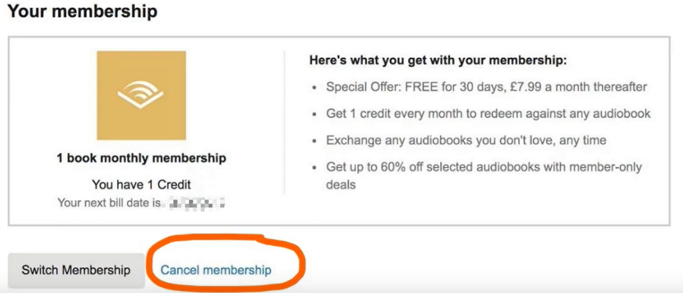 audible cancel membership