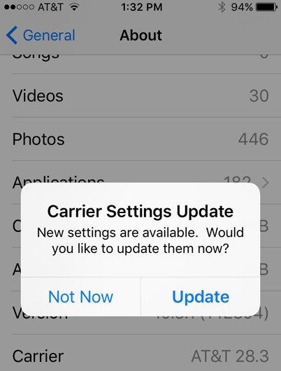 carrier setting update