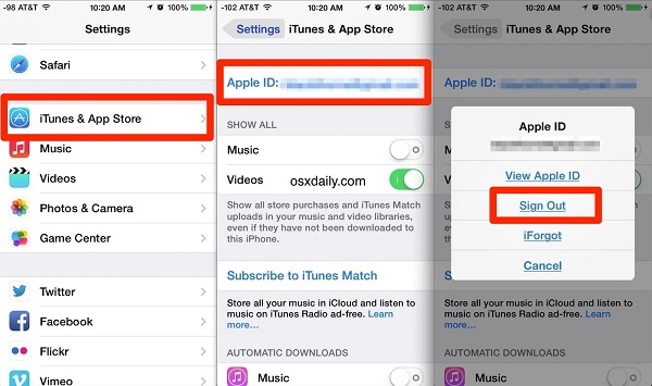 change apple id on iphone, ipad