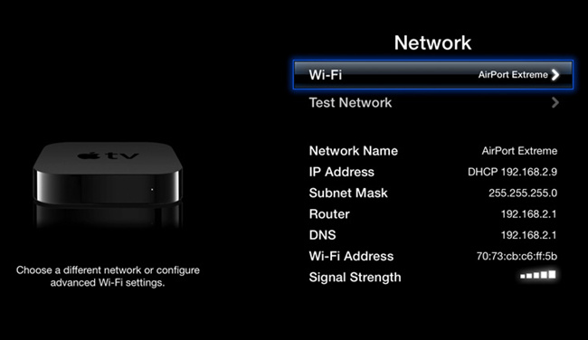 check apple tv network