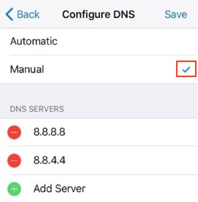 configure dns on iphone