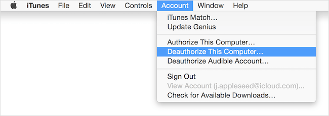 deauthorize computer in itunes
