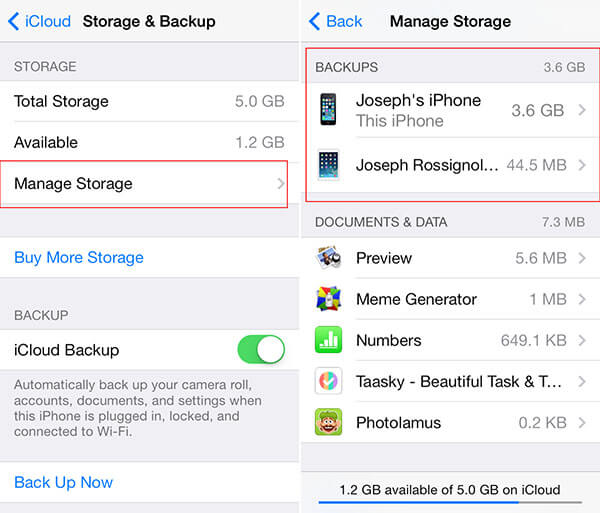 delete old devices icloud backup