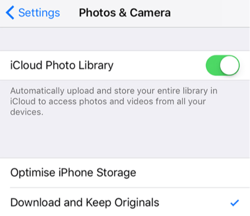 disable the icloud photo ibrary