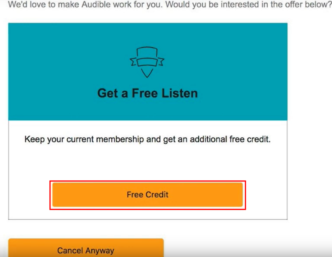 audible additional free credit