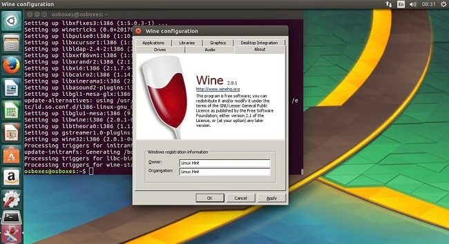 wine on linux