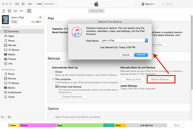 recover ipad reminders from iTunes