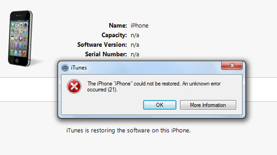 iPhone error 21