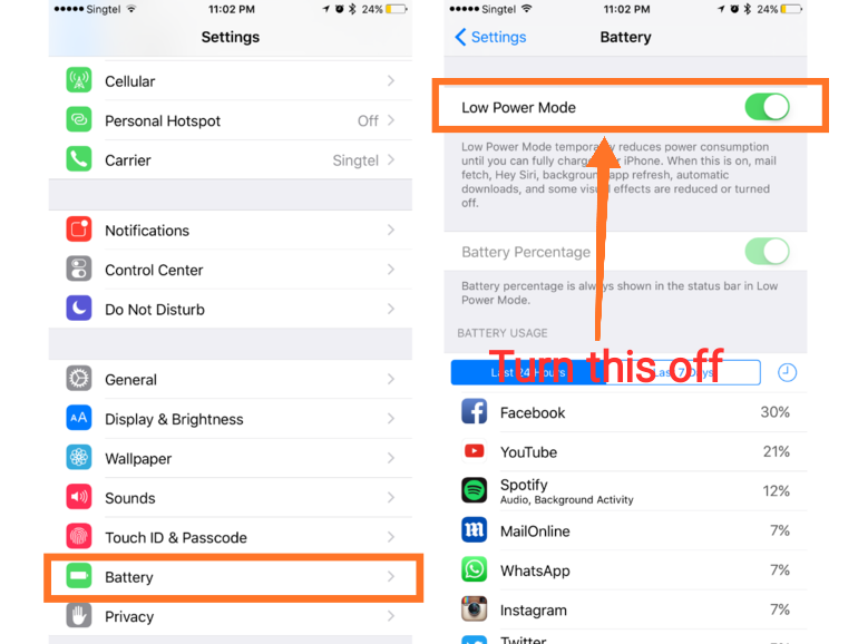 turn off iphone low power mode