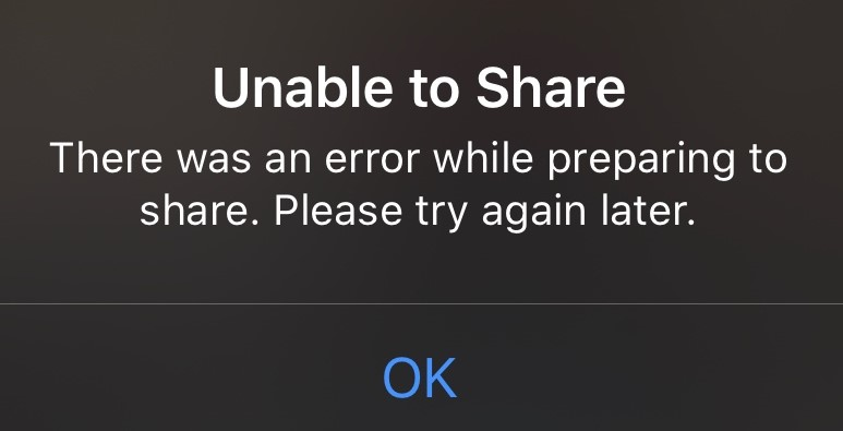 iphone unable to share photos