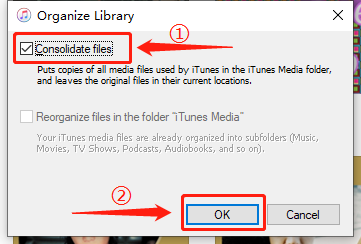 itunes consolidate files