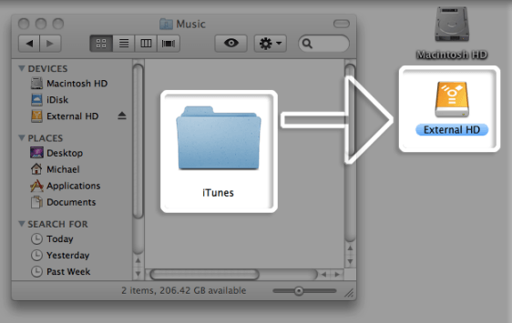move itunes library to external HD