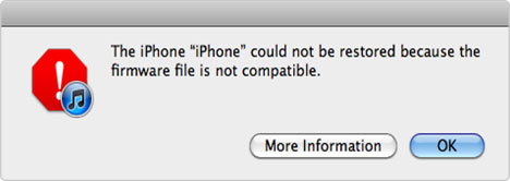 iphone firmware not compatible