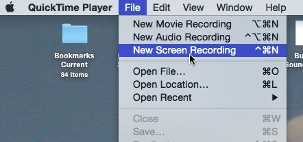 quicktime new screen recording