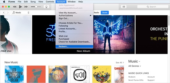 how to use itunes gift card on android