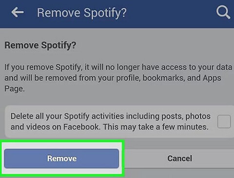 delete spotify facebook account on mobile