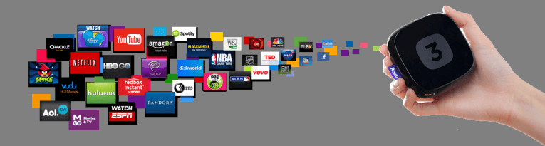 roku 3, various media channels