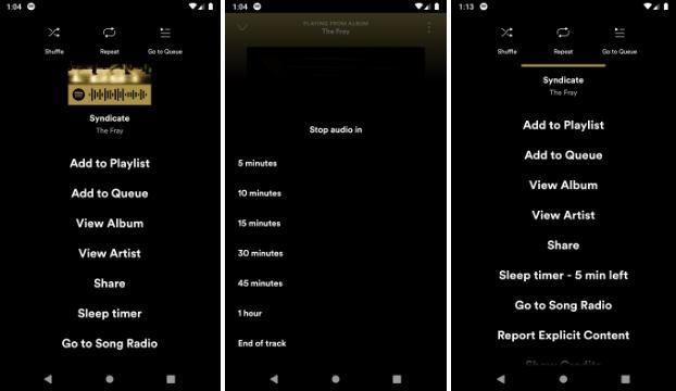 set spotify sleep timer on android