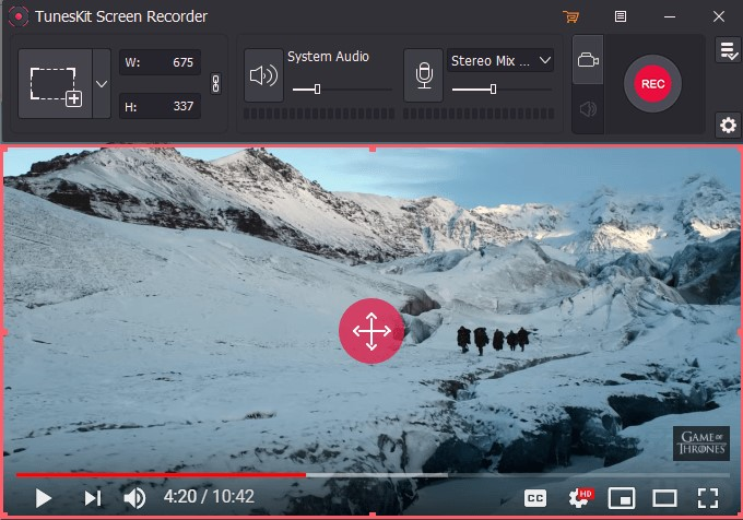 tuneskit screen recorder interface