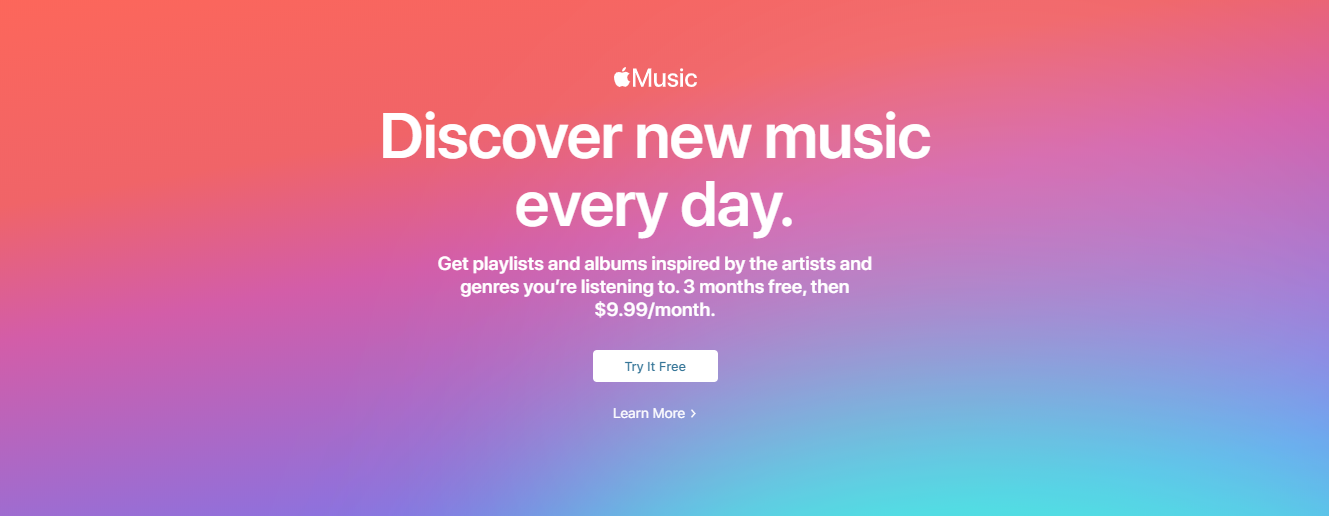 sign up for apple music webpage
