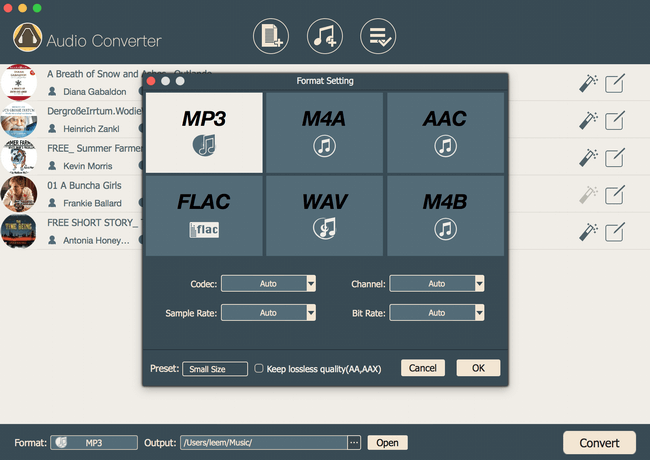 choose output format as mp3