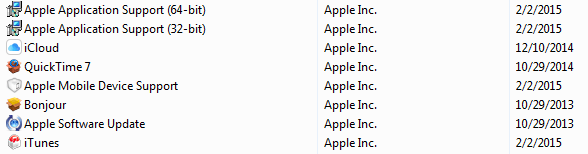 uninstall itunes 12.1 on 64 bits
